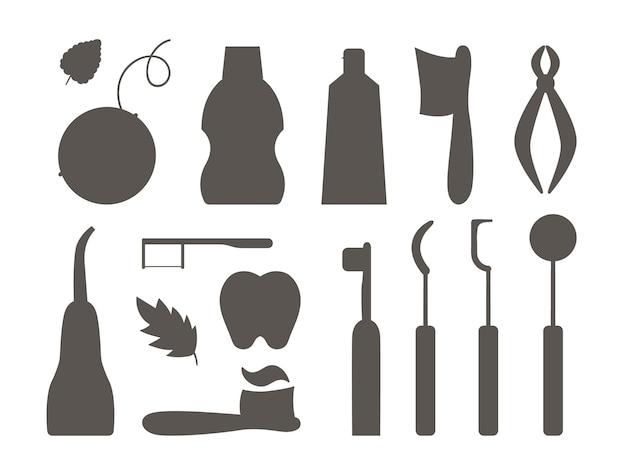 Conjunto de siluetas vectoriales de herramientas para el cuidado de los dientes. colección de elementos para la limpieza de los dientes. equipo de odontología aislado sobre fondo blanco. pasta de dientes, cepillo, hilo dental, ilustración. pack de iconos de sombra de dentista