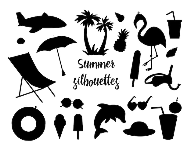 Conjunto de siluetas de verano aislado en blanco.