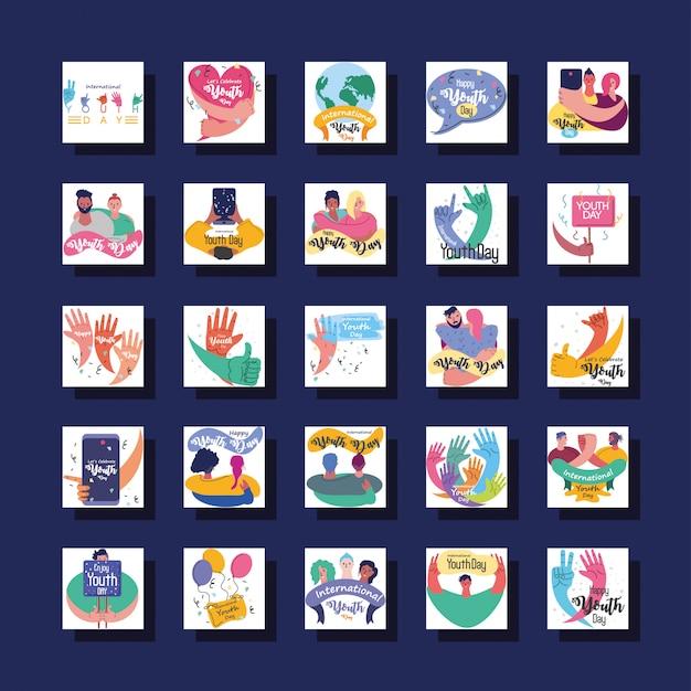 Conjunto de símbolo de la celebración del día internacional de la juventud
