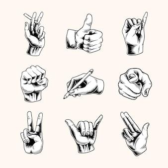 Conjunto de símbolo de gesto de mano fresca