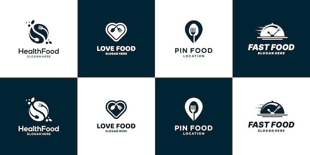 Conjunto de símbolo de icono de diseño de logotipo de comida