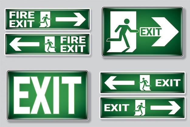 Conjunto de símbolo de salida de emergencia de incendio.