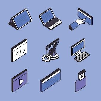 Conjunto de símbolo de tecnología y desarrollo web isométrico