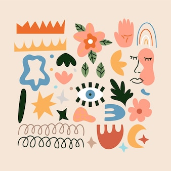 Conjunto de símbolos abstractos de moda. ilustración de vector de objetos modernos.