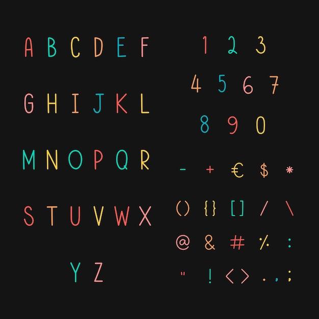 Conjunto de símbolos y alfabeto con estilo