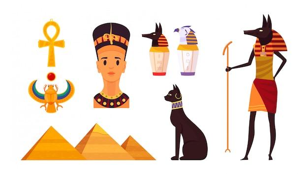 Conjunto de símbolos del antiguo egipto. hitos históricos y estatuas de ídolos.