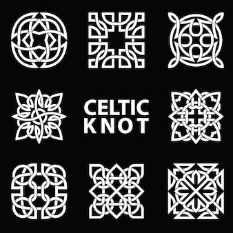 Conjunto de símbolos antiguos ejecutados en nudo celta