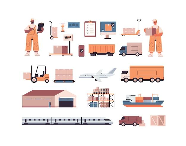Conjunto de símbolos de carga de transporte logístico de diferentes transportistas y repartidores de raza mixta en concepto de servicio de entrega urgente uniforme aislado
