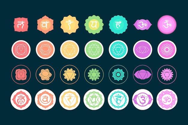 Conjunto de símbolos de chakras coloridos