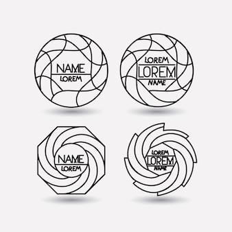 Conjunto de símbolos circulares abstractos de logotipo monocromo
