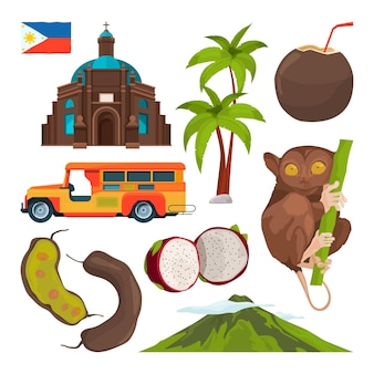 Conjunto de símbolos de colores de filipinas.