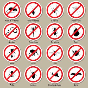 Conjunto de símbolos de control de plagas e insectos