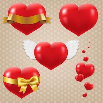 Conjunto de símbolos de corazones