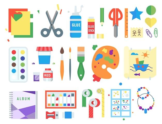Conjunto de símbolos de creación de creatividad infantil temática