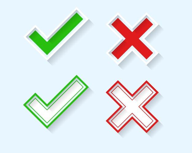 Conjunto de símbolos de cruz y marca de verificación 3d