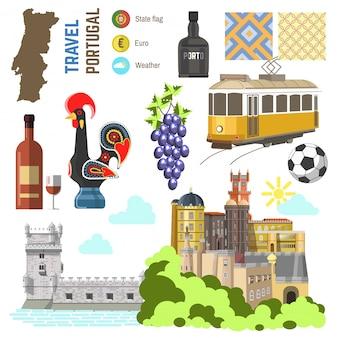 Conjunto de símbolos de la cultura portuguesa. europa viaja hacia lisboa dirección.