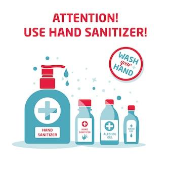 Conjunto de símbolos de desinfectante de manos, botella de alcohol para la higiene, aislado en blanco, plantilla de signo e icono, ilustración médica.