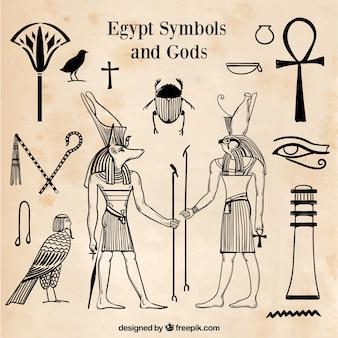 Conjunto de símbolos y dioses egiptos en estilo dibujo a mano