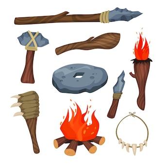 Conjunto de símbolos de la edad de piedra, armas y herramientas de hombre de las cavernas ilustraciones sobre un fondo blanco.