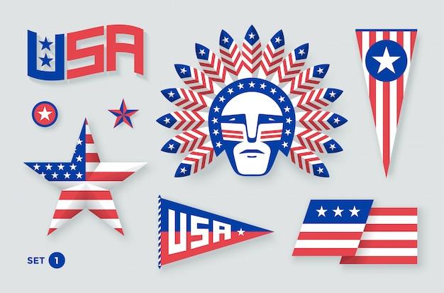 Conjunto de símbolos y elementos de estados unidos para el día de la independencia