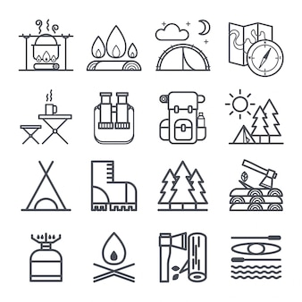 Conjunto de símbolos de equipos de camping