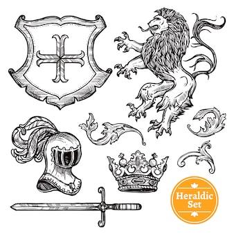 Conjunto de símbolos heráldicos doodle sketch negro