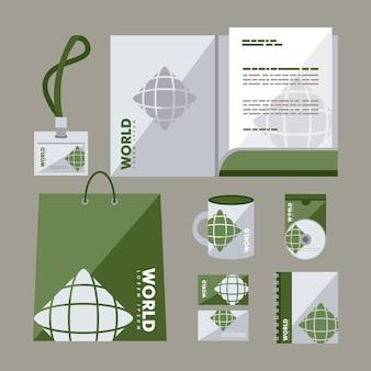 Conjunto de símbolos de identidad corporativa