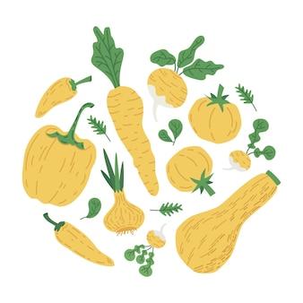 Conjunto de símbolos de ilustración de vector de doodle amarillo verduras calabaza tomate pimiento