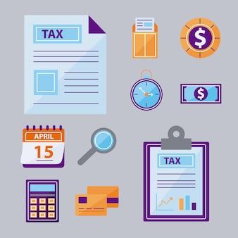 Conjunto de símbolos de impuestos