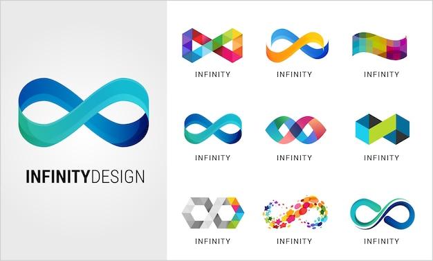Conjunto de símbolos de infinito abstracto colorido