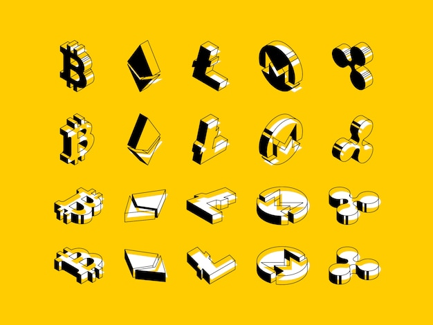 Conjunto de símbolos isométricos de criptomonedas sobre fondo amarillo.