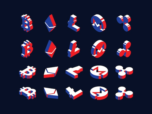 Conjunto de símbolos isométricos de varias criptomonedas.