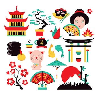 Conjunto de símbolos de japón