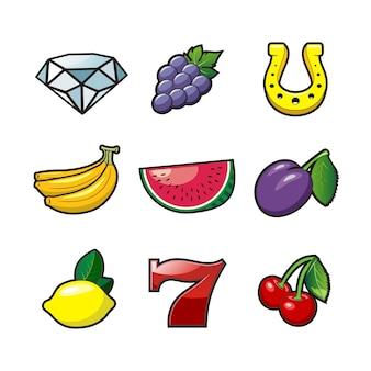 Conjunto de símbolos de máquinas tragamonedas, imagen
