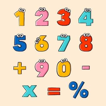 Conjunto de símbolos matemáticos dibujados a mano