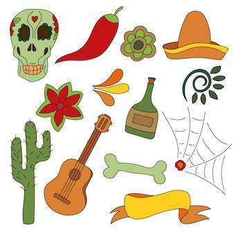 Conjunto de símbolos mexicanos dibujados a mano: guitarra, sombrero, tequila, calavera. elementos nacionales aislados hechos en vector