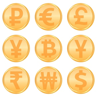 Conjunto de símbolos de moneda y criptomoneda