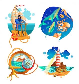 Conjunto de símbolos náuticos mar océano
