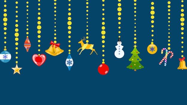 Conjunto de símbolos navideños en estilo plano colgando de cuerdas de bolas