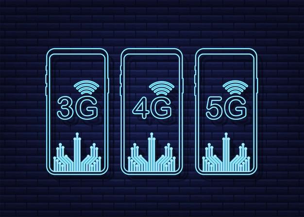 Conjunto de símbolos de neón 5g 4g 3g aislado en la tecnología de comunicación móvil de fondo