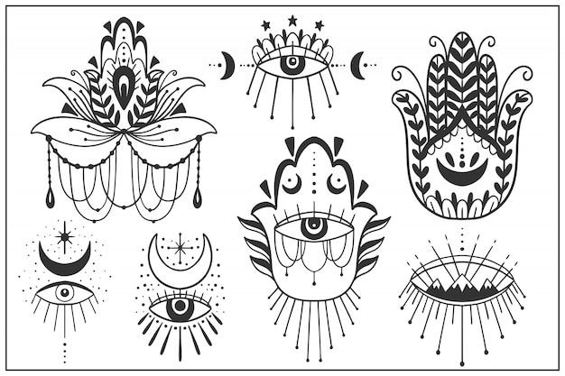 Conjunto de símbolos del ojo que ve mal