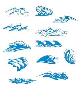 Conjunto de símbolos de onda para diseño aislado en blanco