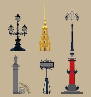 Conjunto de símbolos de san petersburgo.