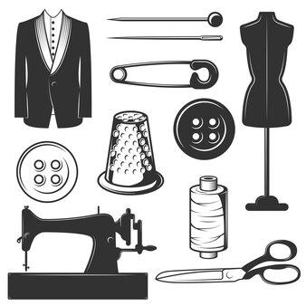 Conjunto de símbolos de sastre vintage, iconos aislados