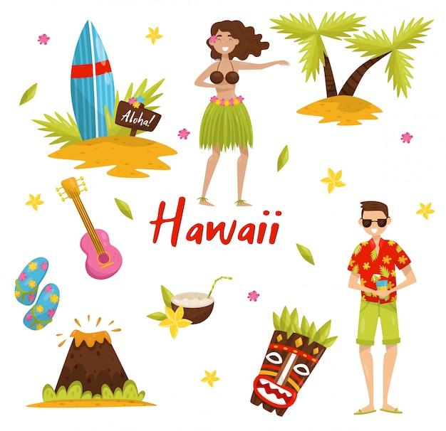 Conjunto de símbolos tradicionales de la cultura hawaiana, tabla de surf, palmera, volcán, máscara tribal tiki, ukelele ilustraciones sobre un fondo blanco