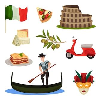 Conjunto de símbolos tradicionales de italia. ilustración.