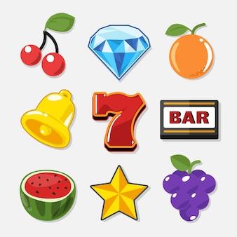 Conjunto de símbolos de tragamonedas para juego de casino.