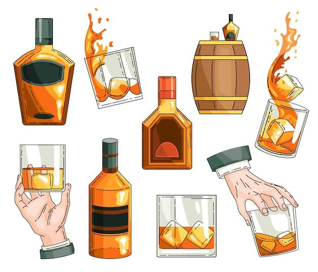 Conjunto de símbolos de whisky. botella de vidrio, mano de hombre sosteniendo un vaso de whisky con cubitos de hielo, colección de iconos de barril de alcohol de madera.