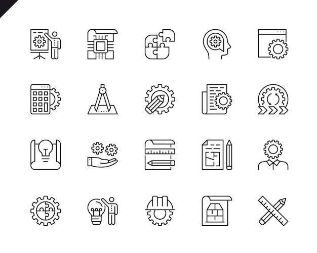 Conjunto simple de diseño de ingeniería relacionados con línea de iconos de línea.