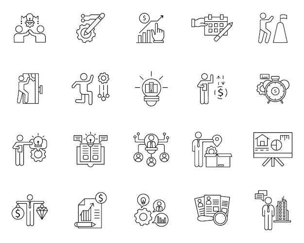 Conjunto simple de elementos de negocios relacionados con los iconos de línea de vector
